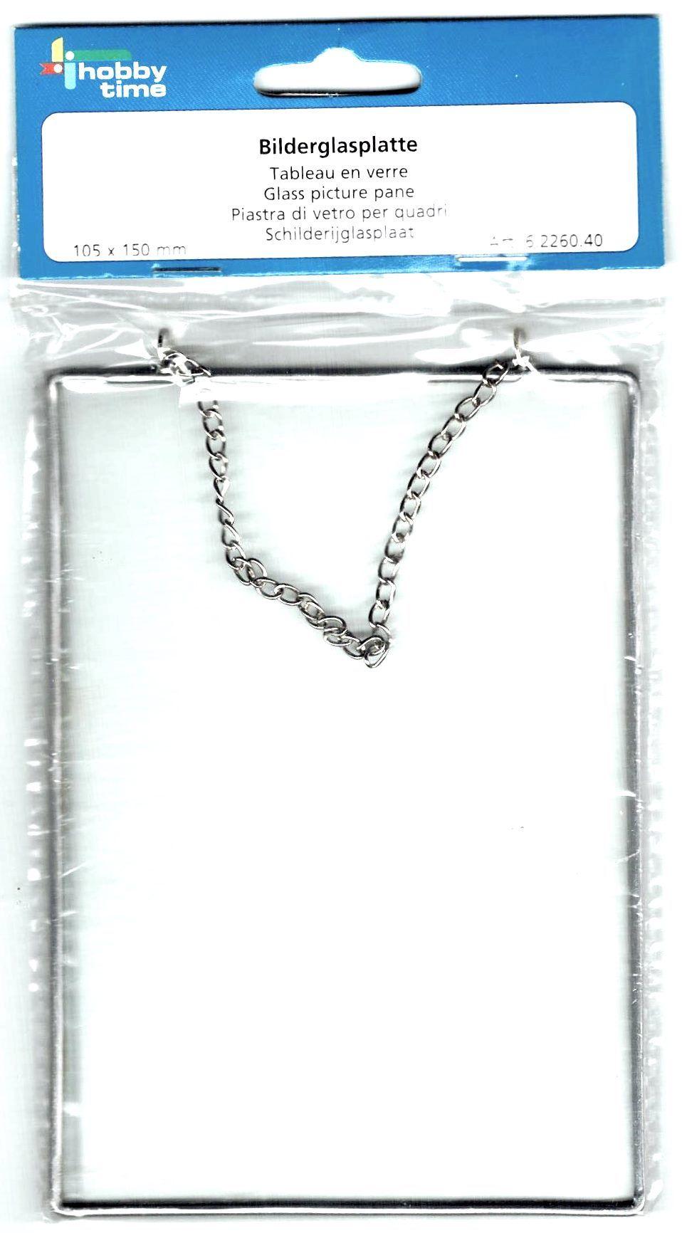 Стекло в рамке с подвесом-цепочкой, прямоугольник, 10,5*15 см